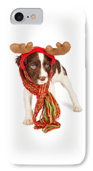 Cute Puppy Christmas Reindeer IPhone Case
