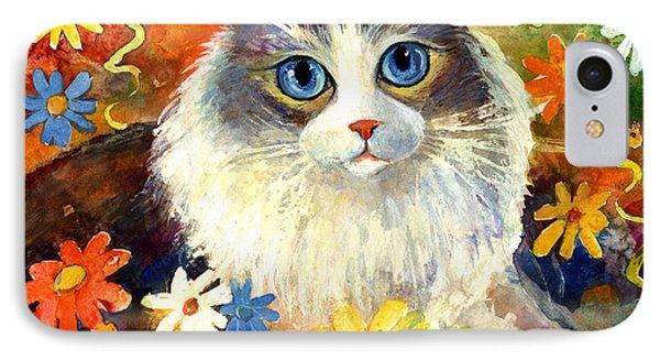 Cute Ragdoll Tubby Cat In Flowers Phone Case by Svetlana Novikova