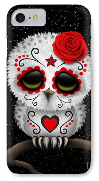 Cute Red Day Of The Dead Sugar Skull Owl On A Branch IPhone Case by Jeff Bartels