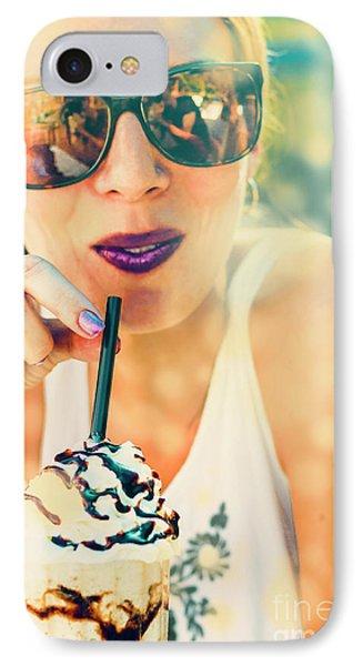 Ice iPhone 7 Case - Cute Retro Girl Drinking Milkshake by Jorgo Photography - Wall Art Gallery