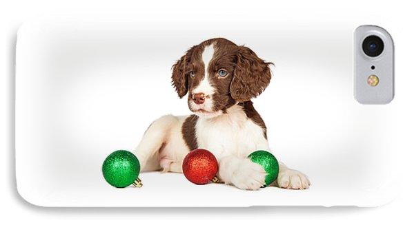 Cute Seven Week Old Puppy With Red And Green Christmas Ornaments IPhone Case
