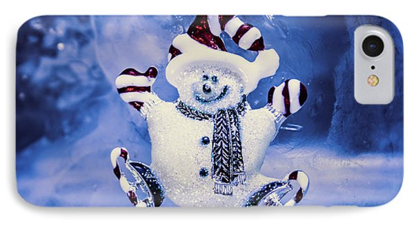 Cute Snowman In Ice Skates IPhone Case