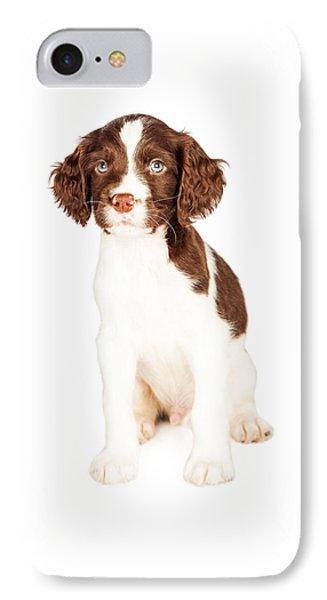 Cute Springer Spaniel Puppy Over White IPhone Case
