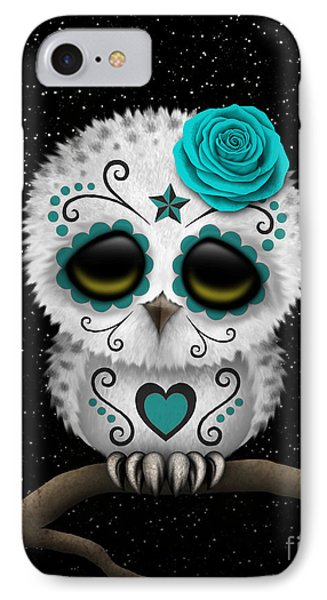 Cute Teal Day Of The Dead Sugar Skull Owl On A Branch IPhone Case by Jeff Bartels