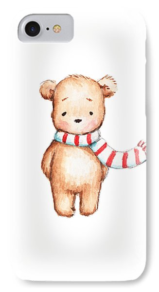 Cute Teddy Bear With Red And White Scarf IPhone Case by Anna Abramska