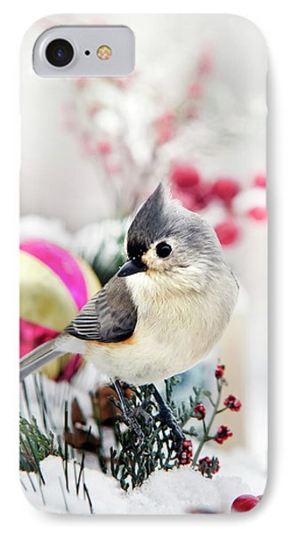 Cute Winter Bird - Tufted Titmouse IPhone Case by Christina Rollo