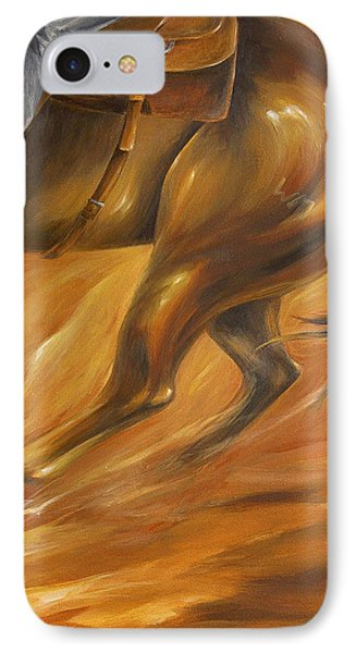 IPhone Case featuring the painting Cutting Horse Closeup 2 by Dina Dargo