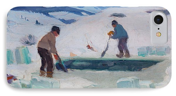 Cutting Ice On The Gouffre River Charlevoix IPhone Case by Clarence Gagnon