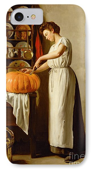 Cutting The Pumpkin IPhone Case by Franck-Antoine Bail