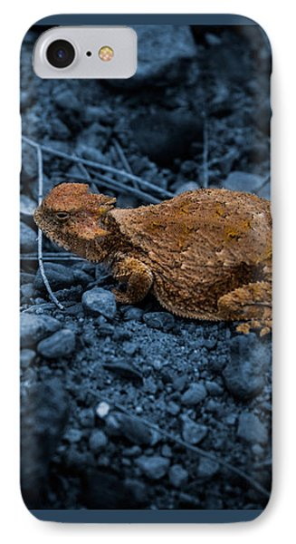 IPhone Case featuring the digital art Cyanotype Horned Toad by Bartz Johnson
