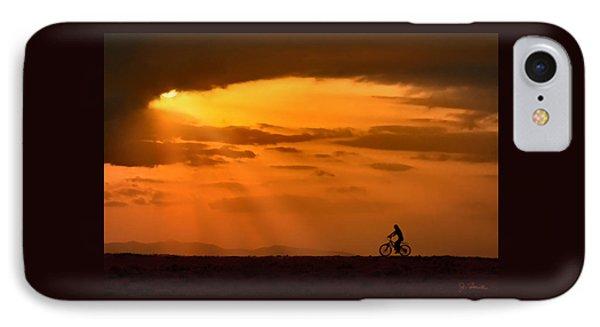 Cycling Into Sunrays IPhone Case by Joe Bonita