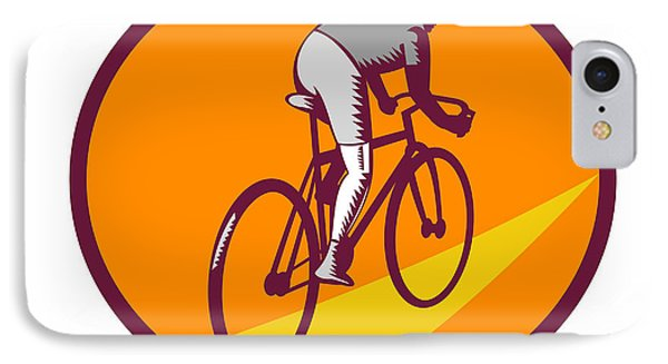 Cyclist Riding Bicycle Cycling Oval Woodcut IPhone Case by Aloysius Patrimonio
