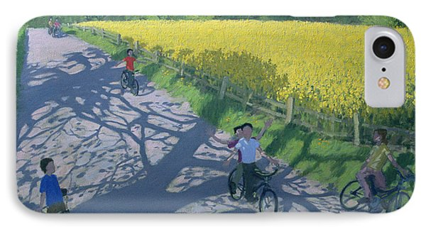 Cyclists And Yellow Field IPhone Case by Andrew Macara