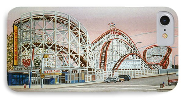 Cyclone Rollercoaster In Coney Island New York IPhone Case by Bonnie Siracusa