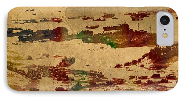 D Day Landing At Normandy France World War Two Watercolor On Old Canvas Map Of War Plans IPhone Case