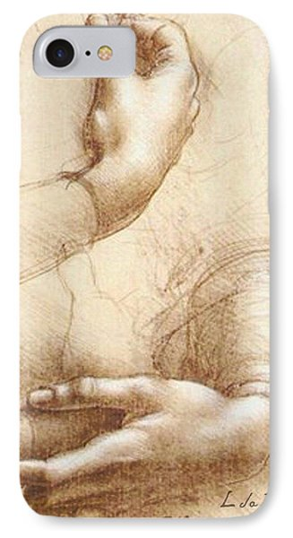 Da Vinci Study Of Hands IPhone Case by Tony Rubino