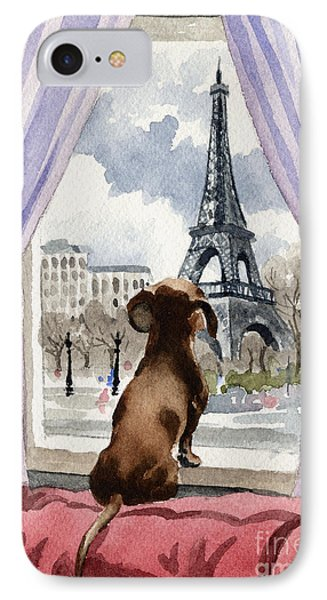 Paris iPhone 7 Case - Dachshund In Paris by David Rogers