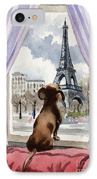 Dachshund In Paris IPhone Case by David Rogers