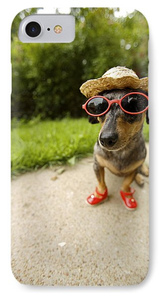 Dachshund In Sunglasses, Straw Hat IPhone Case
