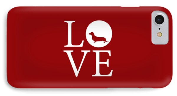 Dachshund Love Red IPhone Case by Nancy Ingersoll