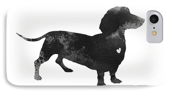 Dachshund Watercolor Black Silhouette IPhone Case