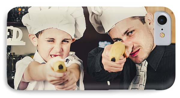 Dad And Son Cooks Shooting With Bananas In Kitchen IPhone Case by Jorgo Photography - Wall Art Gallery