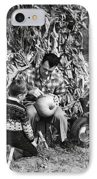 Dad Carves Pumpkin As Kids Watch IPhone Case by H. Armstrong Roberts/ClassicStock