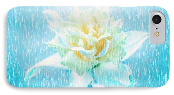 Daffodil Flower In Rain. Digital Art IPhone Case