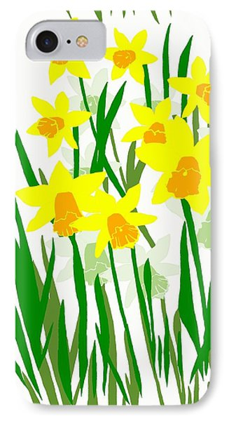 Daffodils Drawing IPhone Case by Barbara Moignard