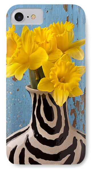 Daffodils In Wide Striped Vase IPhone Case by Garry Gay