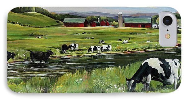 IPhone Case featuring the painting Dairy Farm Dream by Nancy Griswold