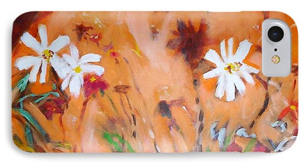 IPhone 7 Case featuring the painting Daisies Along The Fence by Winsome Gunning