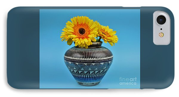 Daisies Displayed In Navajo Native American Vase IPhone Case by Ray Shrewsberry
