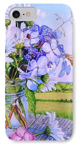 Daisy Bouquet, Maine Farm Landscape, Flowers, Barn, Dragonfly, Hydrangea Flowers, Mason Jar, Bee IPhone Case by Piper Castles