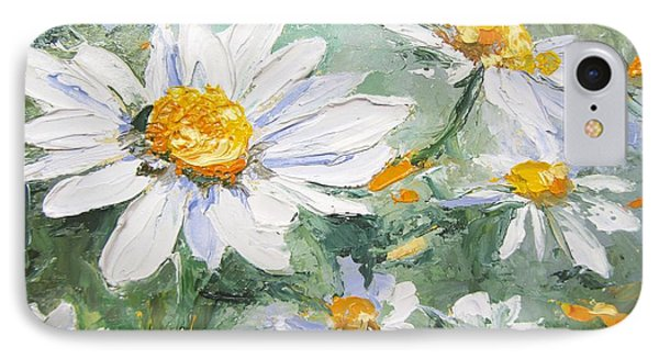 Daisy Delight Palette Knife Painting IPhone Case by Chris Hobel