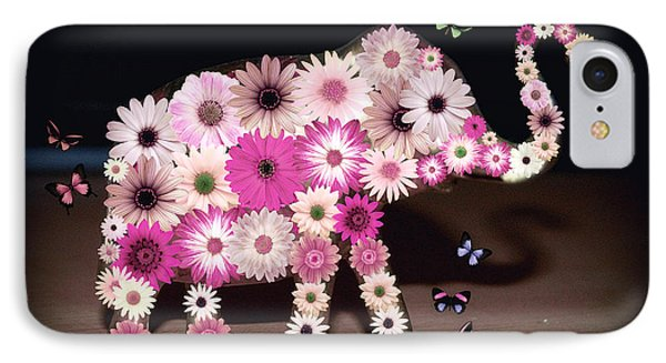 Daisy Elephant IPhone Case by Donna Bentley