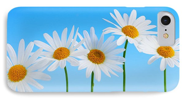 Daisy iPhone 7 Case - Daisy Flowers On Blue by Elena Elisseeva
