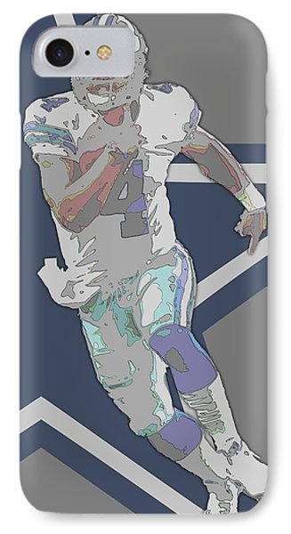 Dak Prescott Dallas Cowboys Contour Art IPhone Case by Joe Hamilton