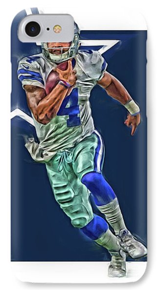 Dak Prescott Dallas Cowboys Oil Art Series 1 IPhone Case by Joe Hamilton