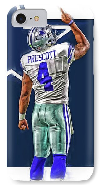 Dak Prescott Dallas Cowboys Oil Art Series 2 IPhone Case by Joe Hamilton