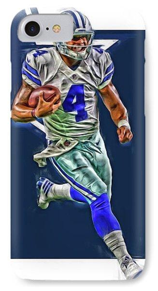 Dak Prescott Dallas Cowboys Oil Art Series 3 IPhone Case by Joe Hamilton