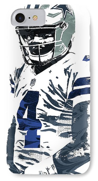 Dak Prescott Dallas Cowboys Pixel Art 4 IPhone Case by Joe Hamilton