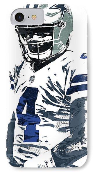 IPhone Case featuring the mixed media Dak Prescott Dallas Cowboys Pixel Art 4 by Joe Hamilton