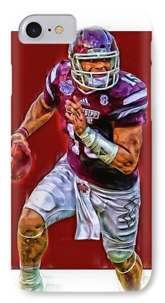 Dak Prescott Mississipi State Oil Art Series 1 IPhone Case by Joe Hamilton