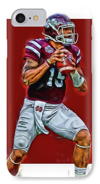 Dak Prescott Mississipi State Oil Art Series 2 IPhone Case by Joe Hamilton
