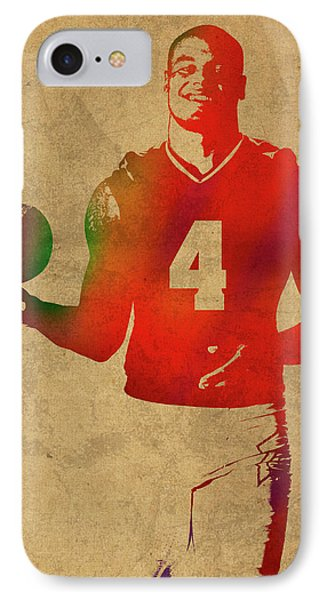 Dak Prescott Nfl Dallas Cowboys Quarterback Watercolor Portrait IPhone Case by Design Turnpike