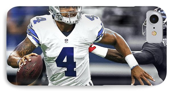Dak Prescott, Number 4, Quarterback, Dallas Cowboys IPhone Case by Thomas Pollart