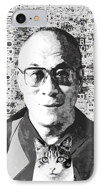 Dalai Lama And Cat IPhone Case by Stacey Chiew