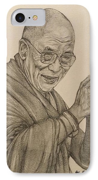 Dalai Lama Tenzin Gyatso IPhone 7 Case by Kent Chua