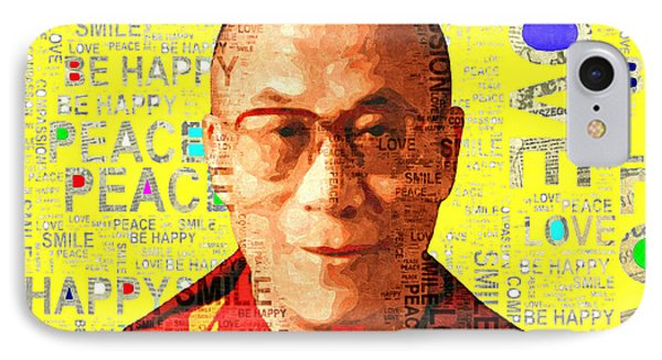 Dalai Lama - Yellow IPhone Case by Stacey Chiew